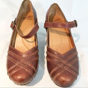 Dansko Reeny Mary Jane Clogs Shoes Strap Leather